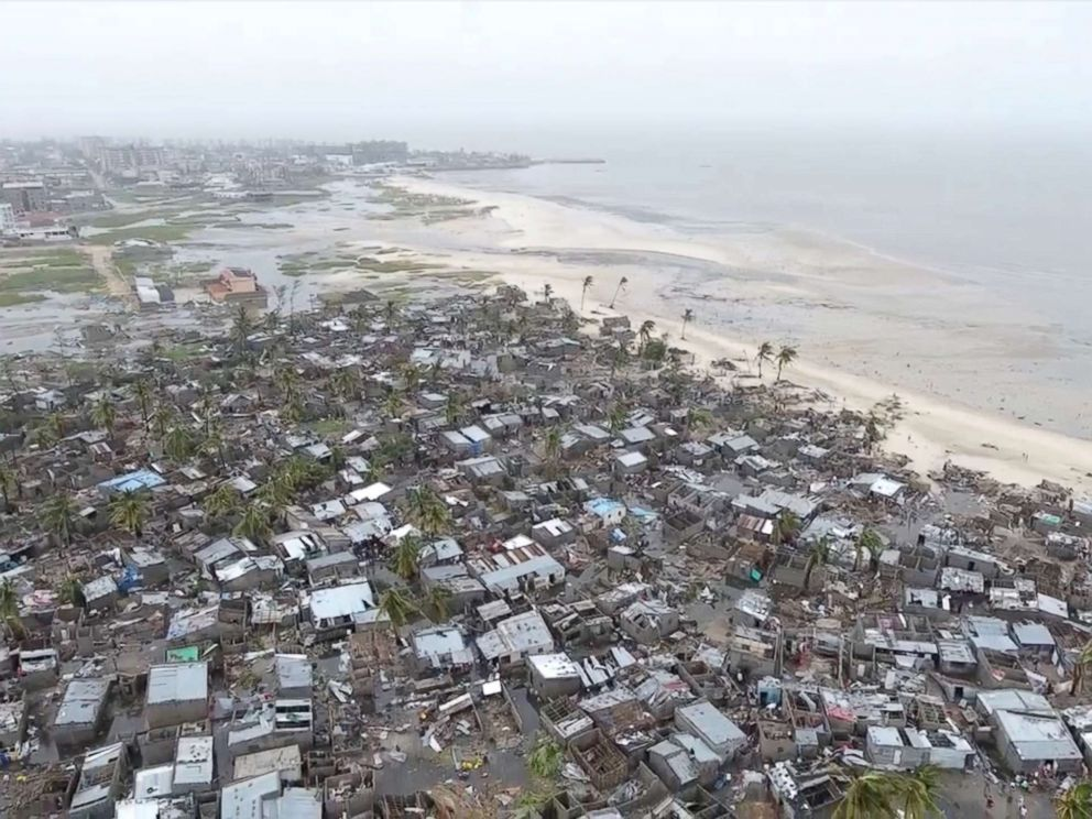 PHOTO: Drone footage shows destruction after Cyclone Idai in the settlement of Praia Nova, which sits on the edge of Beira, Mozambique, March 18, 2019 in this still image taken from a social media video, March 19, 2019.