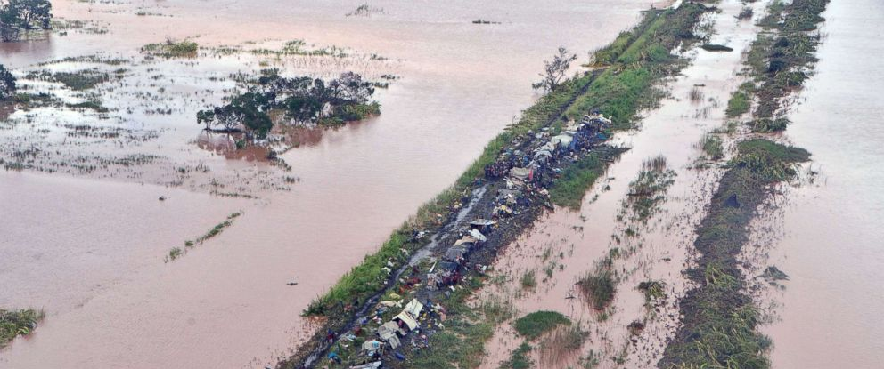 PHOTO: An aerial view shows damage from the flood waters after cyclone Idai made landfall in Sofala Province, Central Mozambique, March 21, 2019.