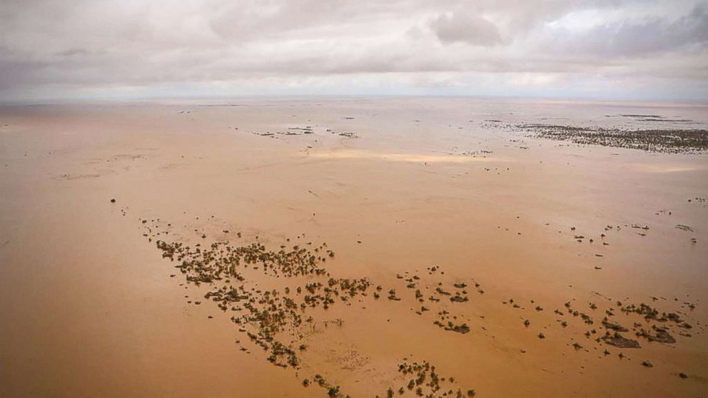 An aerial view shows the flooded plane surrounding Beira, central Mozambique, March 20, 2019, after the passage of cyclone Idai.
