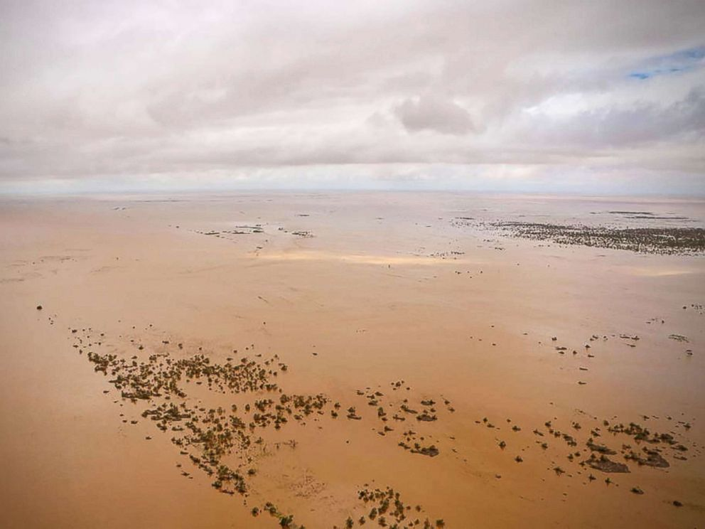 PHOTO: An aerial view shows the flooded plane surrounding Beira, central Mozambique, March 20, 2019, after the passage of cyclone Idai.