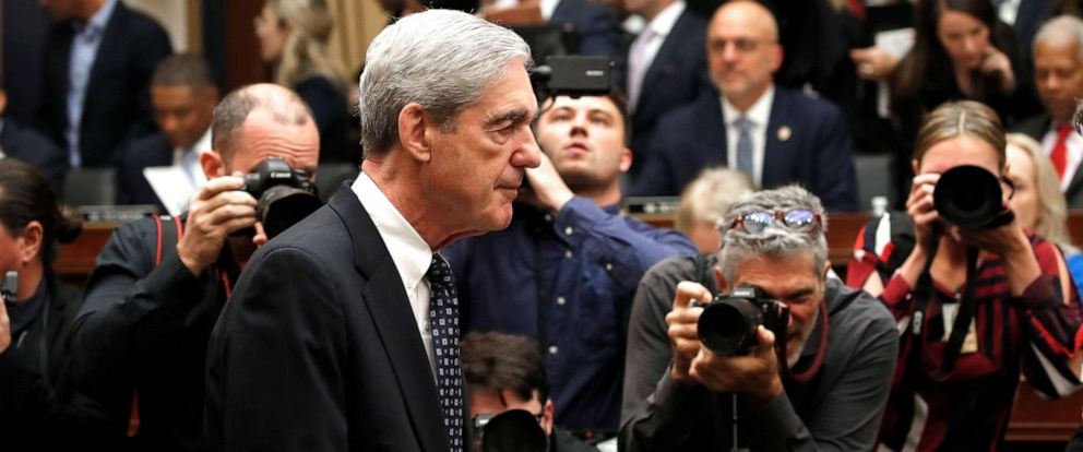 PHOTO: Former special counsel Robert Mueller arrives to testify before the House Judiciary Committee hearing on his report on Russian election interference, on Capitol Hill, July 24, 2019 in Washington.