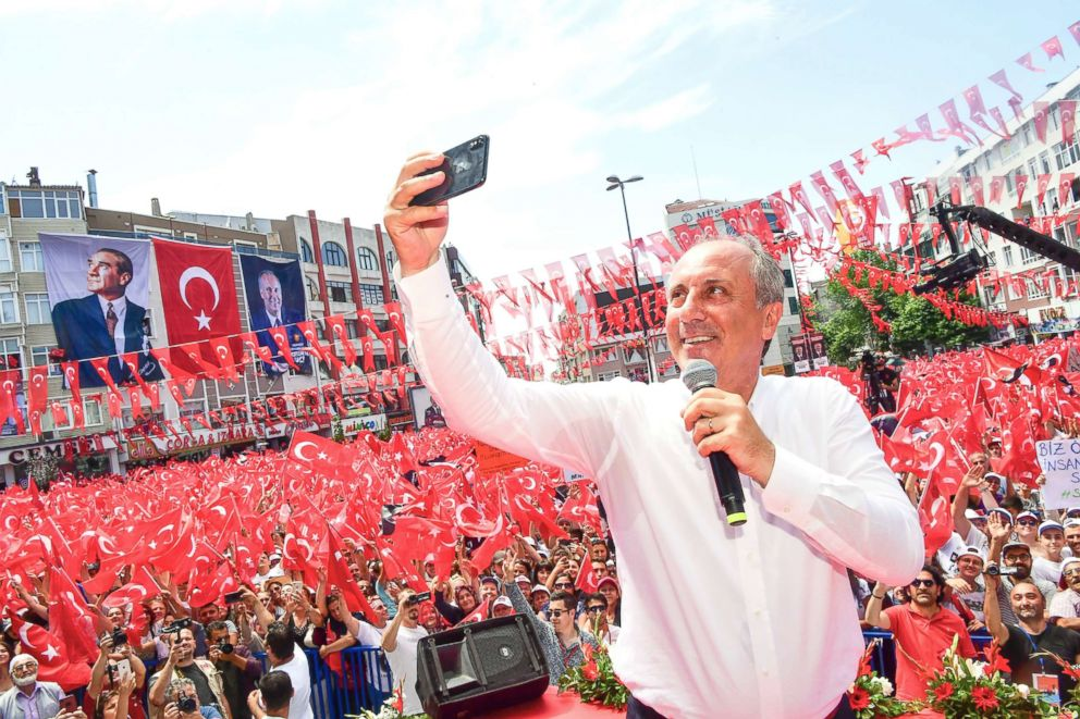 PHOTO: Muharrem Ince, presidential candidate of Turkeys main opposition Republican Peoples Party, takes a picture at the end of his address at an election rally in Corlu, Turkey, on June 20, 2018.