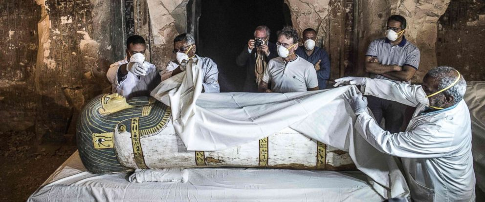 PHOTO: Egypts Antiquities Minister and the Secretary General of the Supreme Council of Antiquities, inspect an intact sarcophagus during its opening at the site of Tomb TT33 at Al-Assasif necropolis in the southern Egyptian city of Luxor, Nov. 24, 2018.