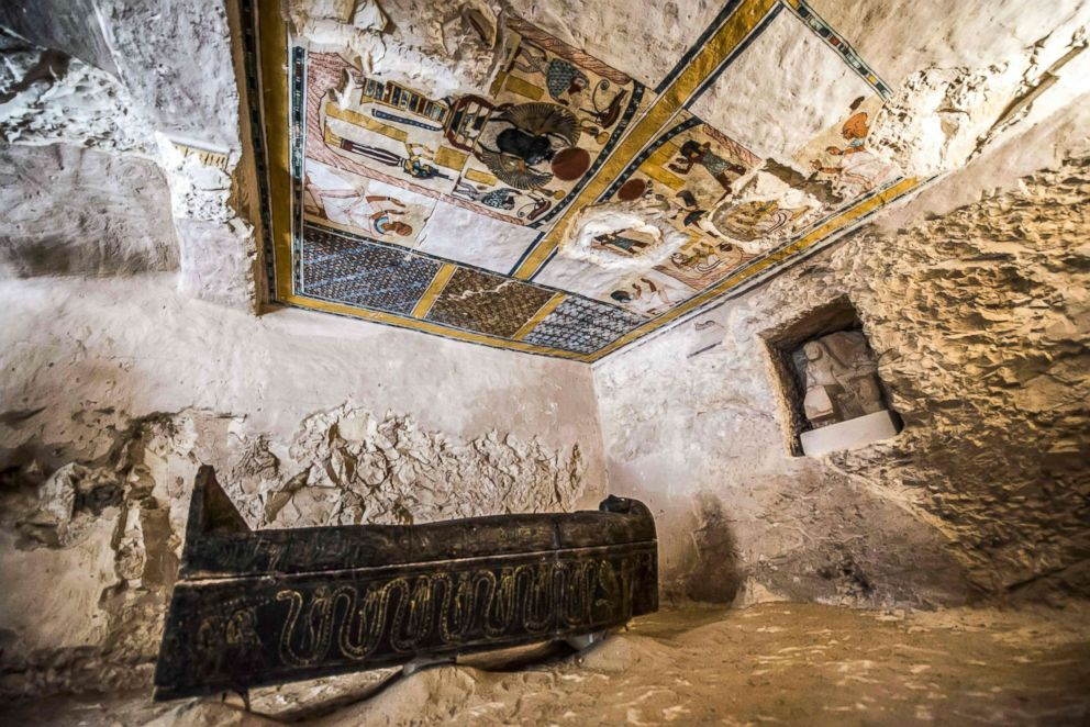 PHOTO: A carved black wooden sarcophagus dating to Egypts Late period (7th-4th century BC), lying in a burial chamber at Al-Assasif necropolis on the west bank of the Nile north of the southern Egyptian city of Luxor, Nov. 24, 2018.