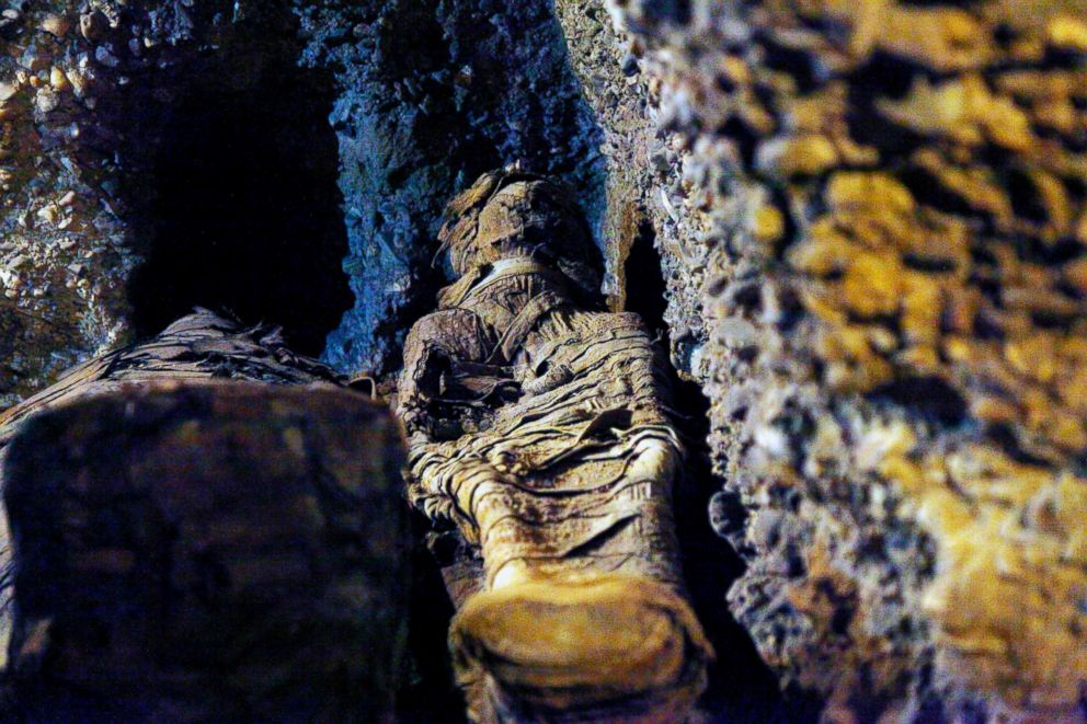 PHOTO: A mummy is seen inside the newly excavated tombs in Tuna el-Gebel necropolis of Minya province south of the capital Cairo, Egypt, Feb. 2, 2019.
