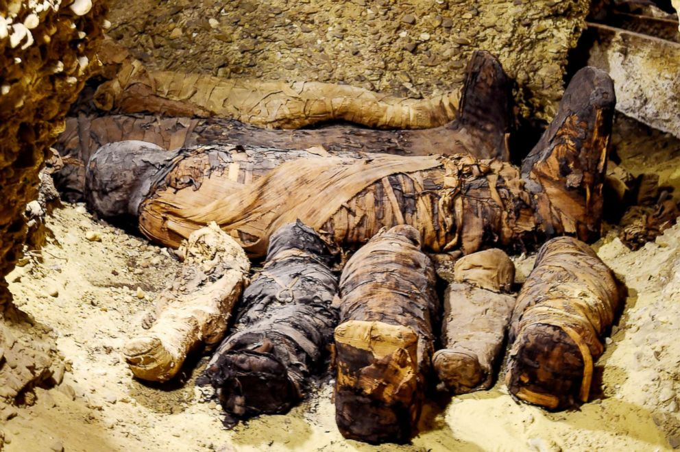 PHOTO: A newly-discovered mummies wrapped in linen found in burial chambers dating to the Ptolemaic era (305-30 BC) at the necropolis of Tuna el-Gebel in Egypts southern Minya province, about 340 kilometres south of the capital Cairo, Feb. 2, 2019.