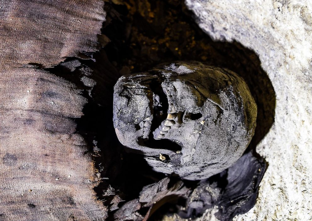 PHOTO: A partially-uncovered skull of a newly-discovered mummy wrapped in linen found in a burial chamber dating to the Ptolemaic era (305-30 BC) at the necropolis of Tuna el-Gebel in Egypt, Feb. 2, 2019.
