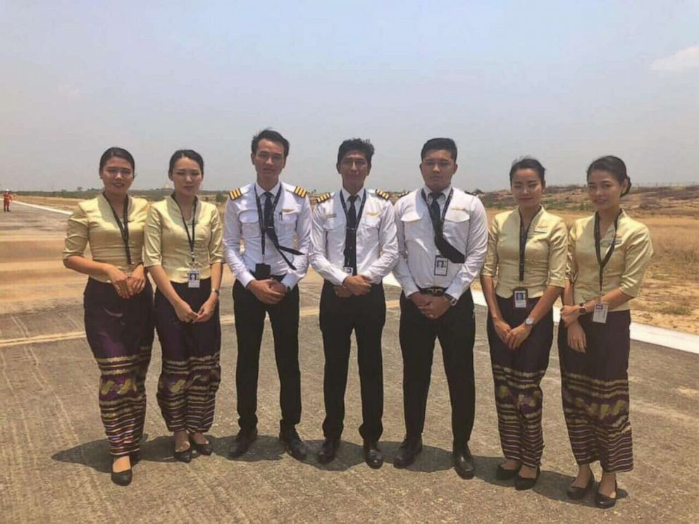 PHOTO: The crew of Flight UB103, a Myanmar National Airlines flight to Mandalay International Airport, landed without its front landing gear on Sunday, May 12, 2019. No one on the plane was injured.