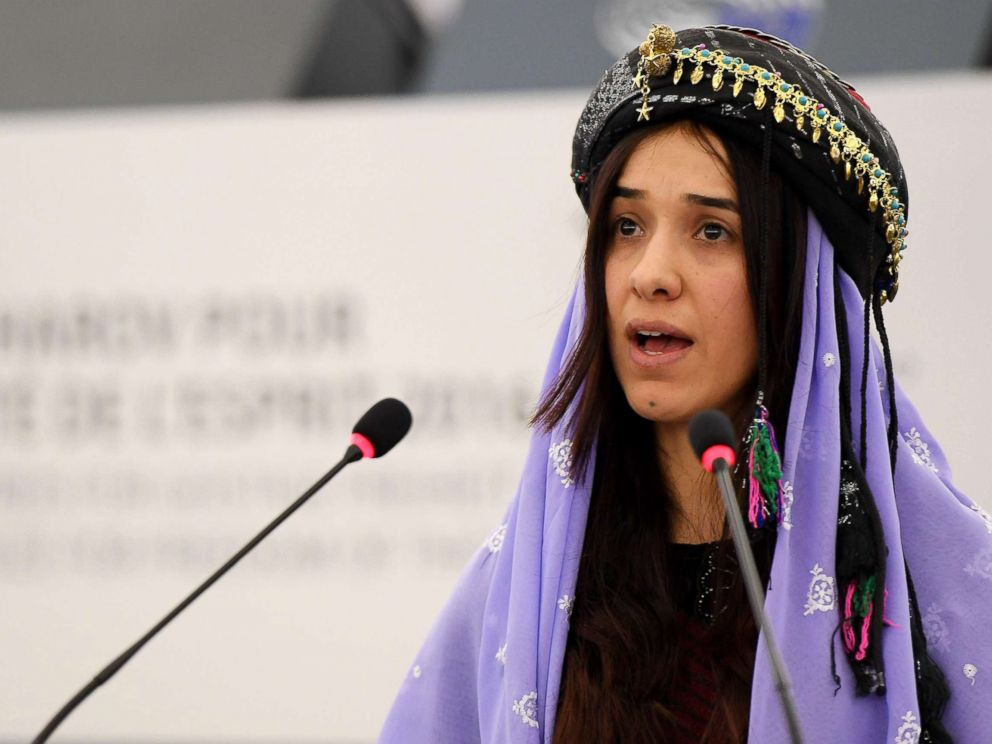PHOTO: Nadia Murad, public advocate for the Yazidi community in Iraq and survivor of sexual enslavement by the Islamic State jihadists, delivers a speech at the European parliament, Dec. 13, 2016, in Strasbourg, France.