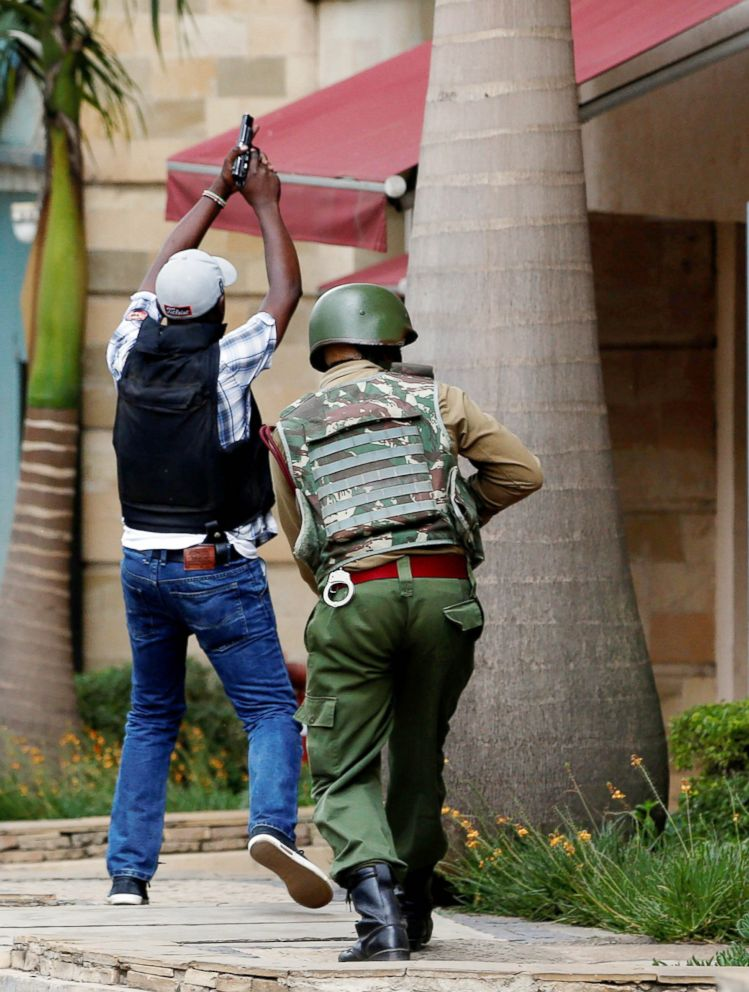 PHOTO: Members of security forces are seen at the scene where explosions and gunshots were heard at the Dusit hotel compound, in Nairobi, Kenya, Jan. 15, 2019.