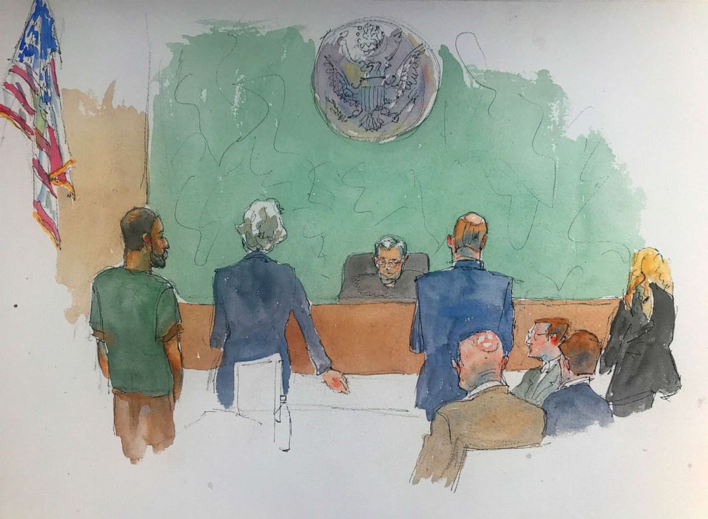 PHOTO: In this courtroom drawing, Najibullah Zazi, left appears at federal court in the Brooklyn borough of New York, Thursday, May 2, 2019.