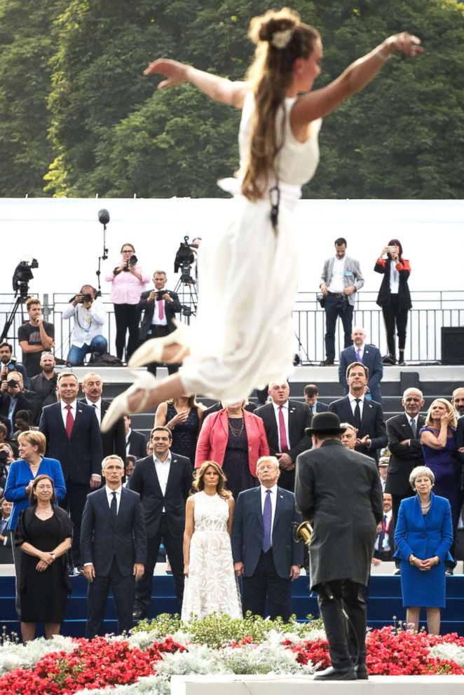 PHOTO: Dignitaries are seen during a show after a dinner at the Parc du Cinquantenaire during the NATO Summit in Brussels, July 11, 2018.