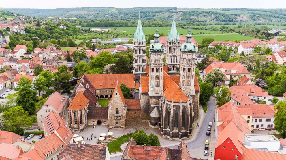 PHOTO: The Naumburg cathedral rises from the centre of the old town, May 4, 2018, Naumburg/Saale, Germany. Originally built in the 13th century, it is one of the regions most important examples of late Romantic architecture.