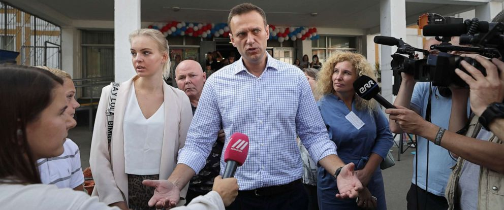 PHOTO: Russian opposition candidate Alexei Navalny speaks to reporters after voting in the Moscow City Duma elections in Moscow, Sept. 8, 2019.