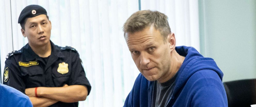 PHOTO: Alexei Navalny, Russias most prominent opposition figure, who has been detained by police and charged with unlawfully organizing a public gathering, sits in a court room in Moscow, Russia, on July 24, 2019.