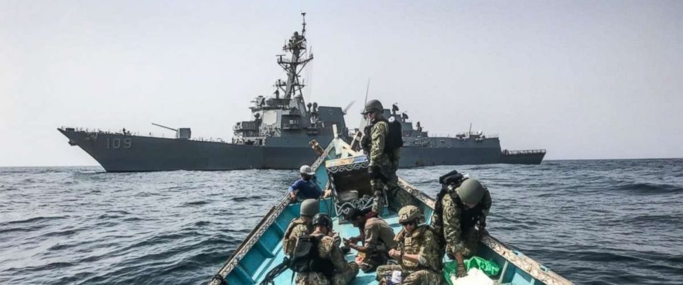 PHOTO: The USS Jason Dunham Navy destroyer seized 1,000 AK-47 rifles from a stateless skiff off the coast of Yemen, Aug. 28, 2018.