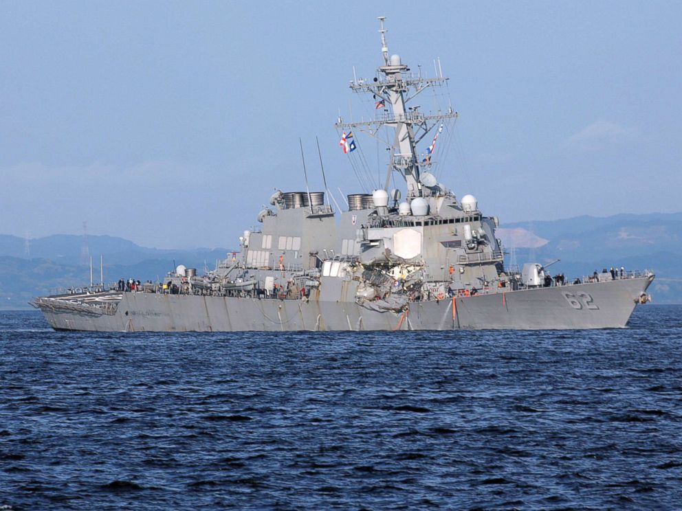 PHOTO: The damaged USS Fitzgerald is pictured near the U.S. Naval base in Yokosuka, southwest of Tokyo, in this June 17, 2017 file photo.