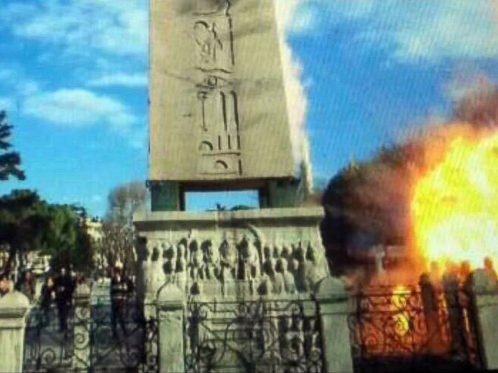 PHOTO: An image taken from bystander video purports to show an explosion near the Roman obelisk in Istanbuls Sultanahmet district that killed 10 people on Jan. 12, 2016.