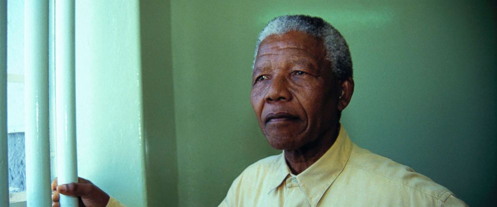 PHOTO: Nelson Mandela revisits the cell at Robben Island Prison, Feb. 11, 1994, where he was jailed for more than two decades.
