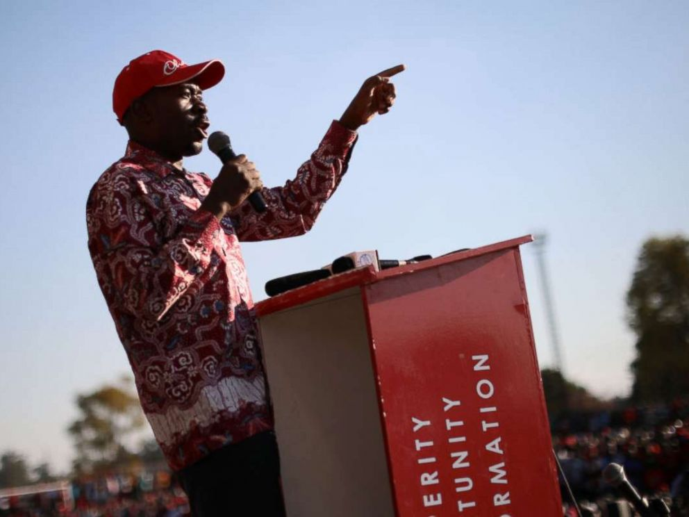 PHOTO: Leader and opposition presidential candidate Nelson Chamisa speaks during a rally on July 26, 2018 in Chitungwiza, Zimbabwe.