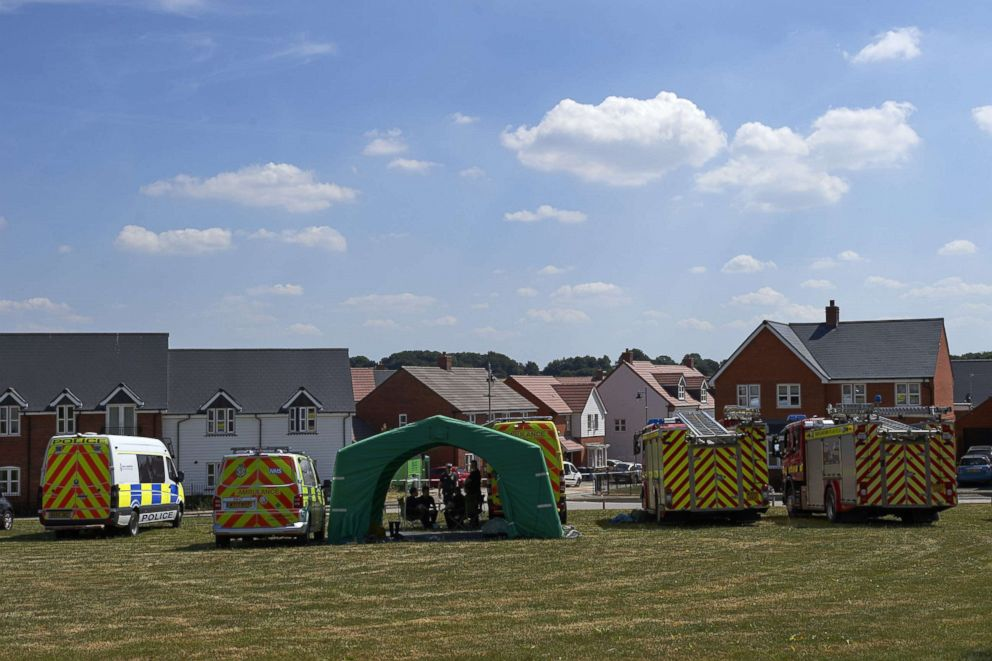 PHOTO: Fire trucks and emergency response vechiles are parked outside a residential house in Amesbury, southern England, July 7, 2018, where a couple was exposed to the same nerve agent as the Russian double agent Sergei Skripal.