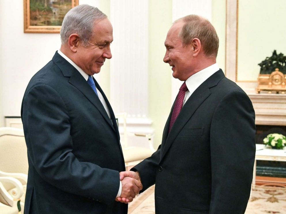 PHOTO: Russian President Vladimir Putin, right, shakes hands with Israeli Prime Minister Benjamin Netanyahu during their meeting at the Kremlin in Moscow on July 11, 2018.
