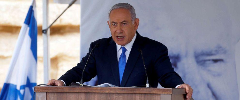 PHOTO: Israeli Prime Minister Benjamin Netanyahu speaks during an annual state memorial ceremony for Israels first prime minister, David Ben Gurion, at his gravesite in Sde Boker, Israel, Nov. 14, 2018.