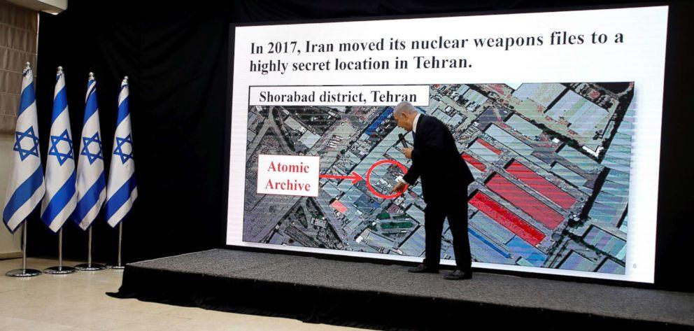 Israeli Prime minister Benjamin Netanyahu speaks during a news conference at the Ministry of Defence in Tel Aviv, Israel, April 30, 2018.