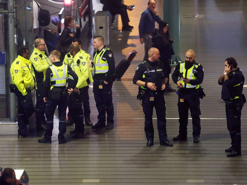 PHOTO: Dutch police stand around at Schiphol airport in Amsterdam, Netherlands, Nov. 6, 2019.