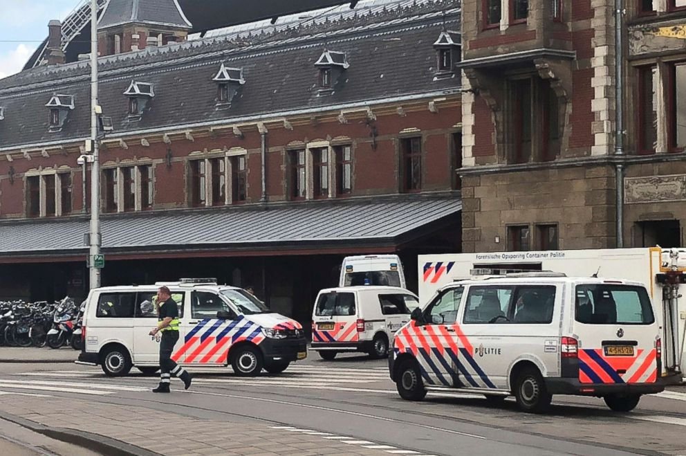 PHOTO: Dutch police officers are pictured near the scene of a stabbing attack at the central daily station in Amsterdam, the Netherlands, Aug. 31, 2018.
