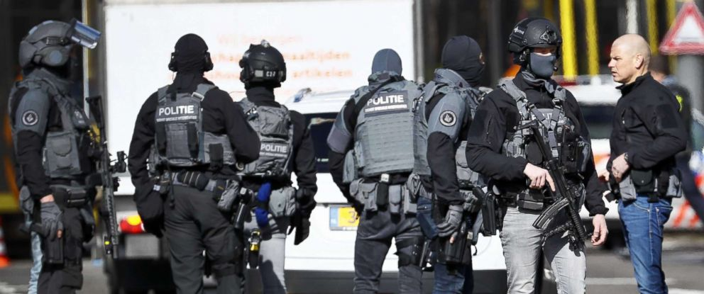 PHOTO: Armed police at the scene where a shooting took place at the 24 Oktoberplace in Utrecht, The Netherlands, March 18, 2019.
