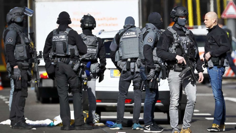 Armed police at the scene where a shooting took place at the 24 Oktoberplace in Utrecht, The Netherlands, March 18, 2019.
