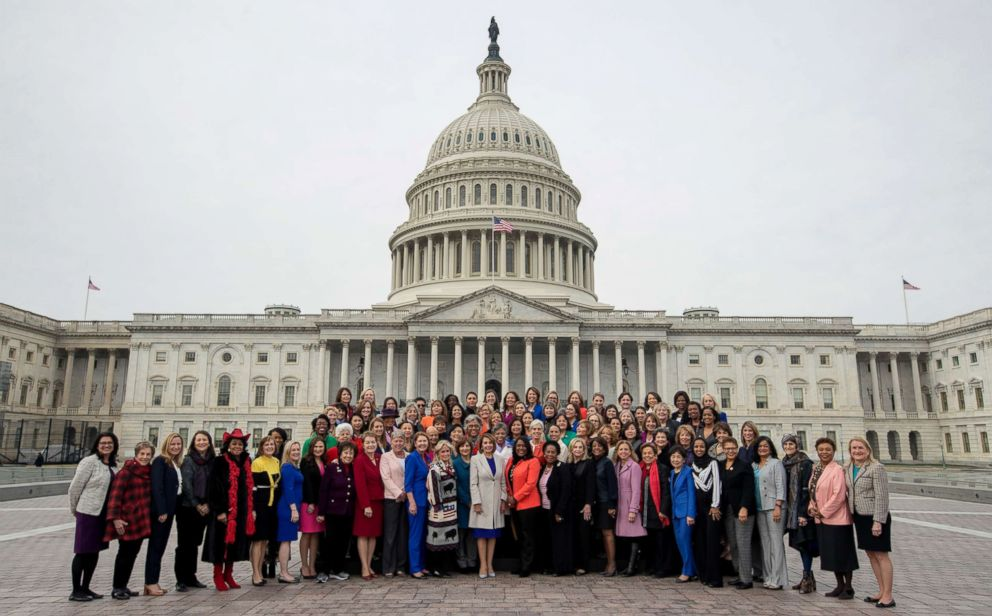 PHOTO: House Speaker Nancy Pelosi of Calif., center, poses with all House Democratic women members of the 116th Congress on the East Front Capitol Plaza on Capitol Hill in Washington, Jan. 4, 2019, as the 116th Congress begins.