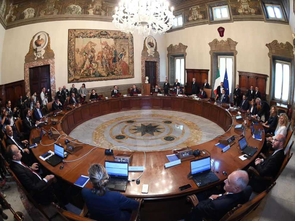 PHOTO: A general view of the first Council of Ministers at Chigi Palace in Rome, June 1, 2018. The new government features 18 ministers, including five women.