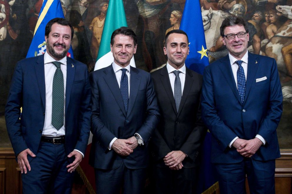 PHOTO: Minister of the Interior and League leader Matteo Salvini, Italian Prime Minister Giuseppe Conte, Economy Minister and M5S leader Luigi Di Maio, and Secretary of the Council of Ministers Giancarlo Giorgetti in Rome, June 1,2018.