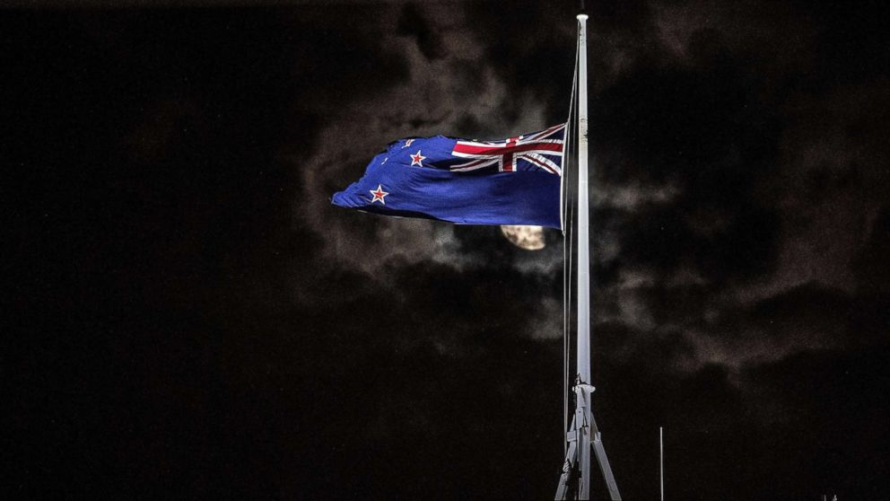 The New Zealand national flag is flown at half-mast on a Parliament building in Wellington, New Zealand, March 15, 2019, after a mass shooting at two mosques in Christchurch.