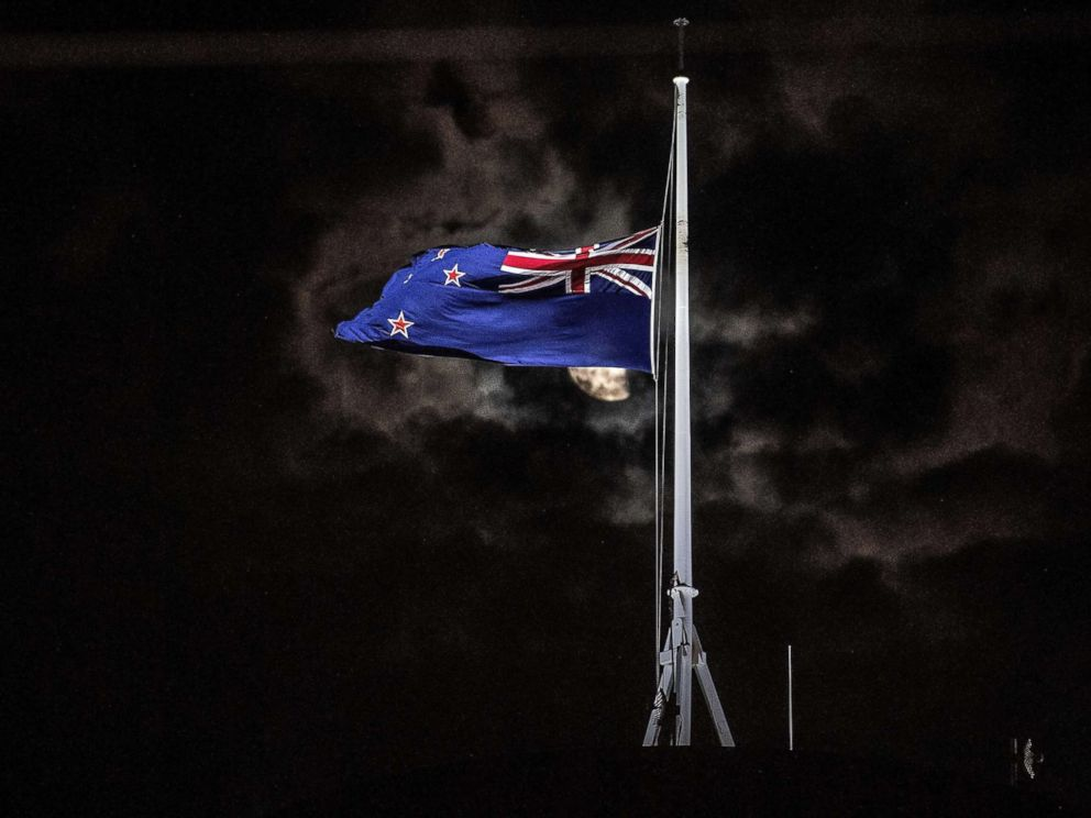 PHOTO: The New Zealand national flag is flown at half-mast on a Parliament building in Wellington, New Zealand, March 15, 2019, after a mass shooting at two mosques in Christchurch.