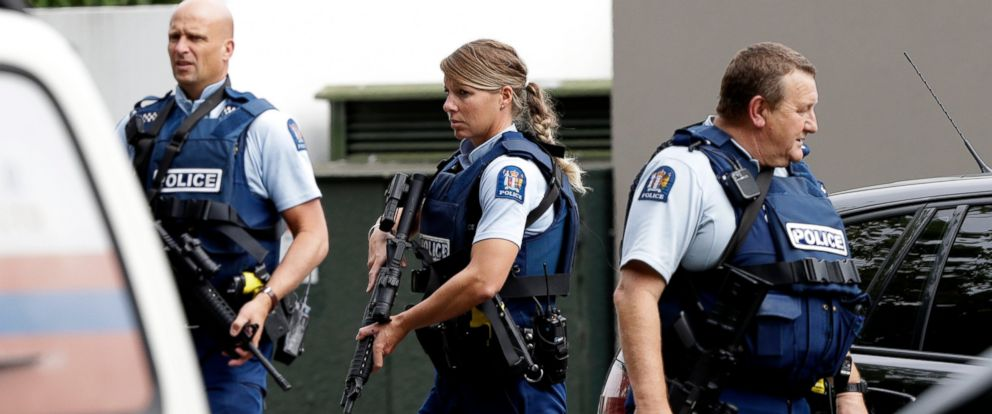 PHOTO: Armed police patrol outside a mosque in central Christchurch, New Zealand, Friday, March 15, 2019.