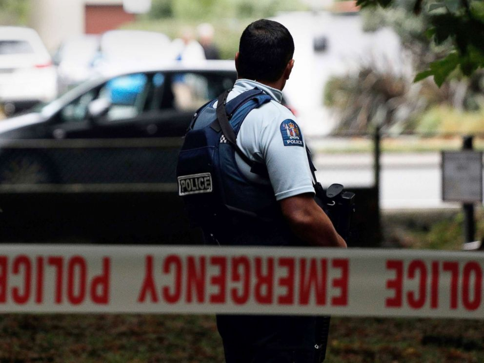 PHOTO: A police Officer secures the area in front of the Masjid al Noohra Mosqu After a Shootings in ChristChurch, New , March 15, 2019.