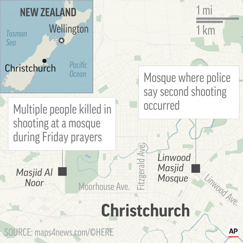 PHOTO: A map shows the location of two shots in Christchurch, New Zealand, Friday, March 15, 2019.