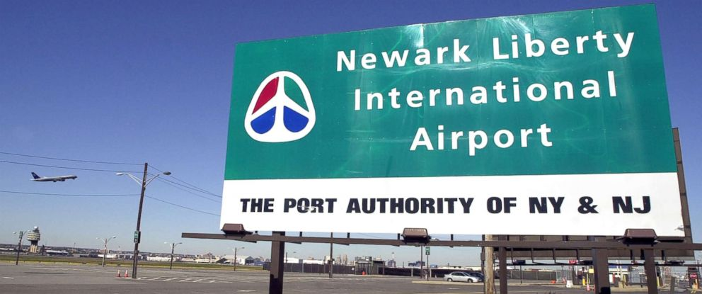 PHOTO: A sign stands close to Newark Liberty International Airport in Newark, N.J., Oct. 31, 2002.
