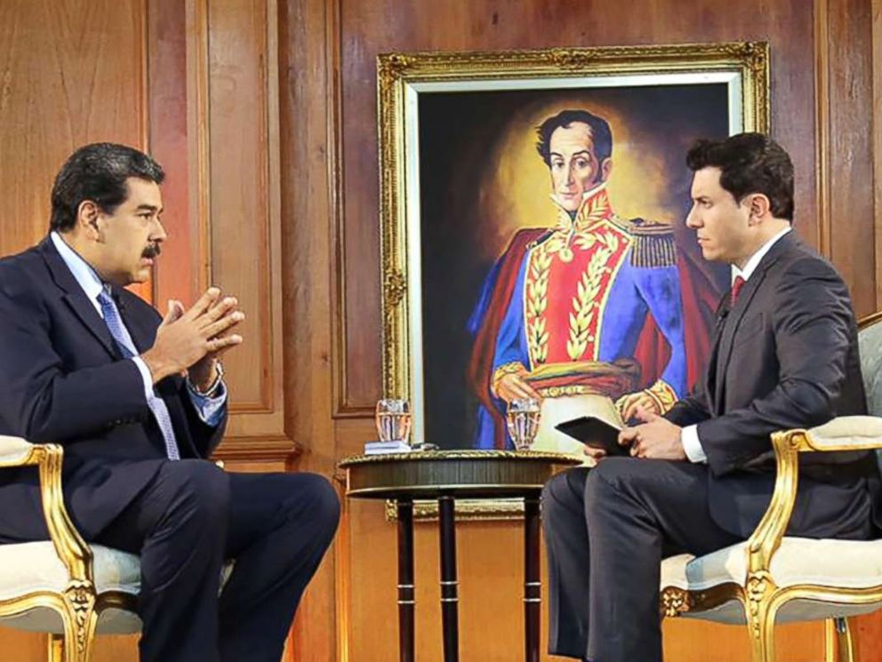 PHOTO: Nicolas Maduro is pictured during an interview with ABC News on Feb. 25, 2019.