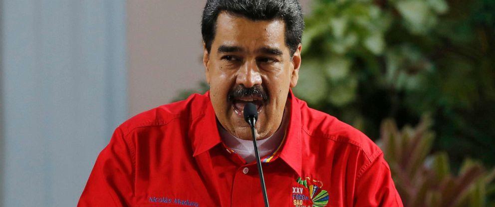 PHOTO: Venezuelas President Nicolas Maduro speaks during the closing ceremony of the Sao Paulo Forum at Miraflores presidential palace in Caracas, Venezuela, July 28, 2019.