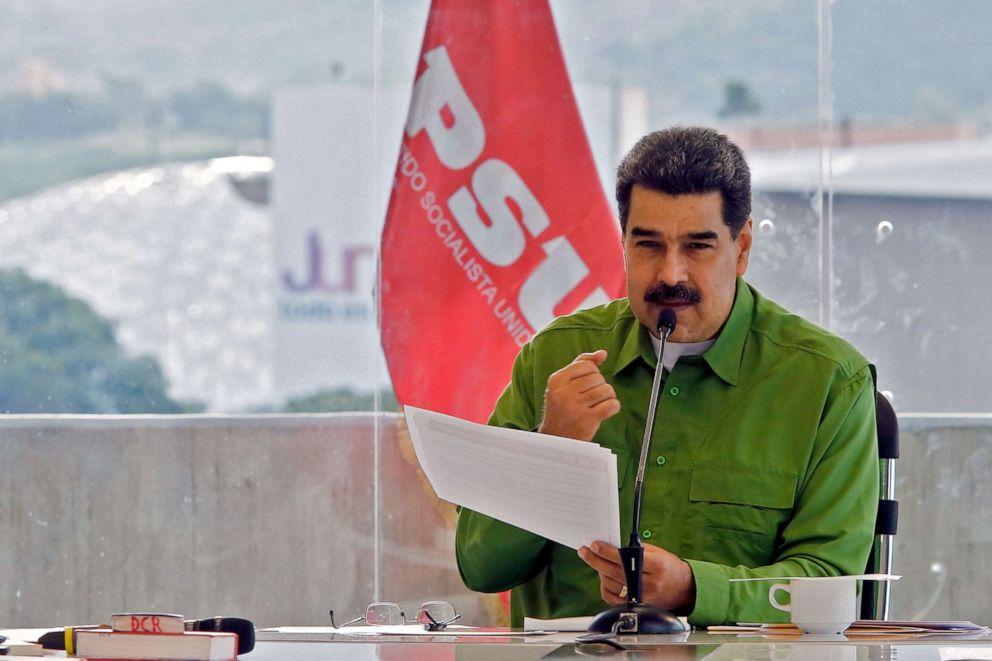 PHOTO: Venezuelas President Nicolas Maduro speaks during a meeting with members of Venezuelas United Socialist Party (PSUV) in Caracas, Sept. 13, 2019.