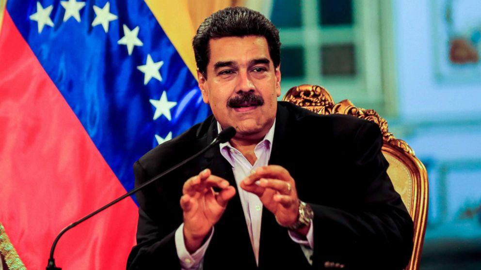 Venezuelan President Nicolas Maduro talks during a meeting with Venezuelan diplomats returning from the US, at the Miraflores presidential palace in Caracas, Jan. 28, 2019.