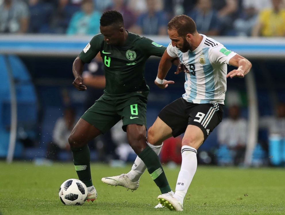 PHOTO: Oghenekaro Etebo of Nigeria vies with Gonzalo Higuain of Argentina during the 2018 FIFA World Cup Russia group D match between Nigeria and Argentina at Saint Petersburg Stadium on June 26, 2018 in Saint Petersburg, Russia.  How the World Cup inspires and unites the African diaspora like no other sport nigeria world cup gty hb 180627 hpEmbed 4x3 992