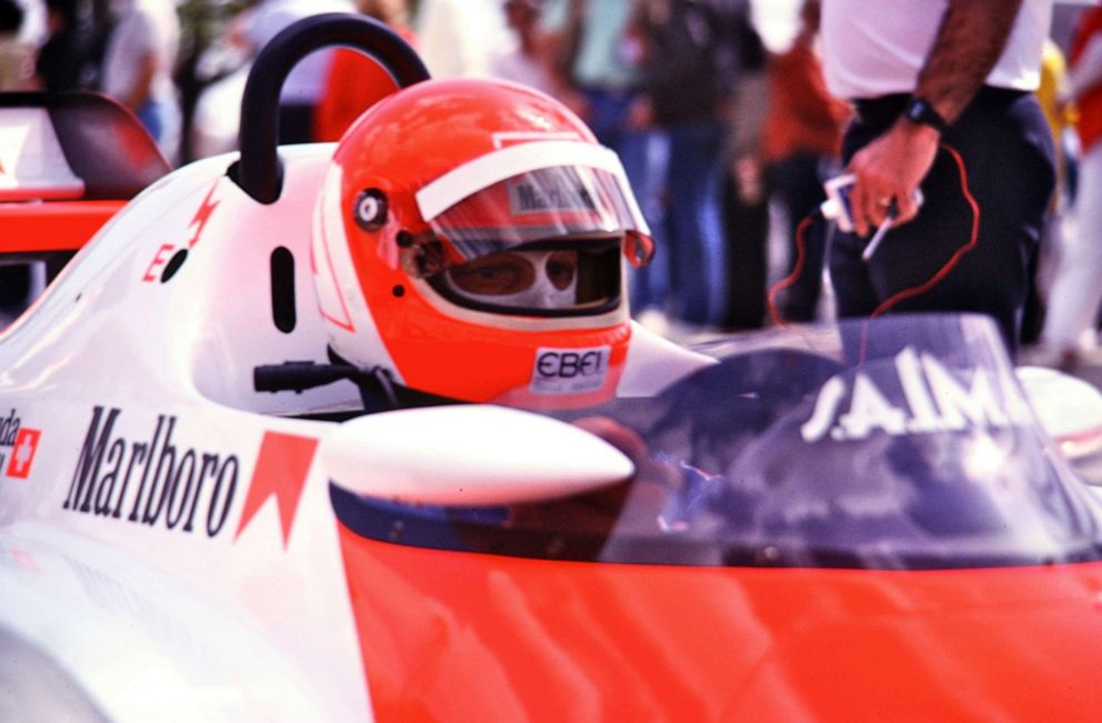 PHOTO: Formula One champion Niki Lauda sits behind the wheel at the Grand Prix of Long Beach in California in the early 1980s.