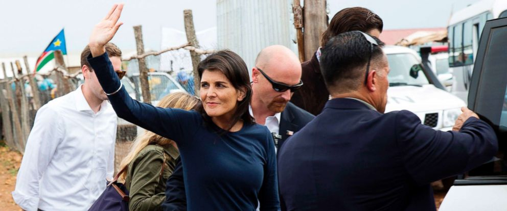 PHOTO: U.S. Ambassador to the United Nations, Nikki Haley, waves towards internally displaced people while she is being evacuated by her protection force, following a demonstration at the UN Protection of Civilians, in Juba, South Sudan, Oct. 25, 2017.