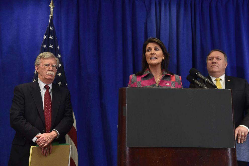 PHOTO: US Ambassador Nikki Haley (C), US Secretary of State Mike Pompeo (R) and US national security adviser John Bolton (L) give a press briefing in New York on Sept. 24, 2018 on the sidelines of the annual United Nations General Assembly.