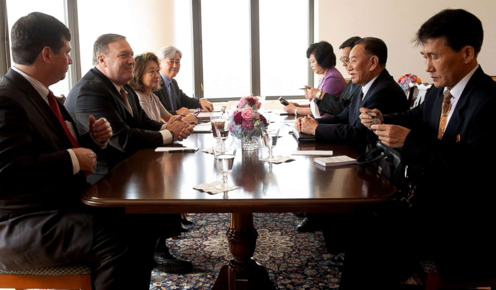 PHOTO: North Korea Vice-Chairman Kim Yong-chol, right, meets with United States Secretary of State Mike Pompeo, left, May 31, 2018 in New York.